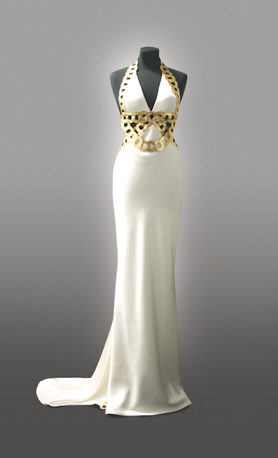Britta von Basedow private client Gold Leather heavy Silk Satin wedding dress -w480-h720