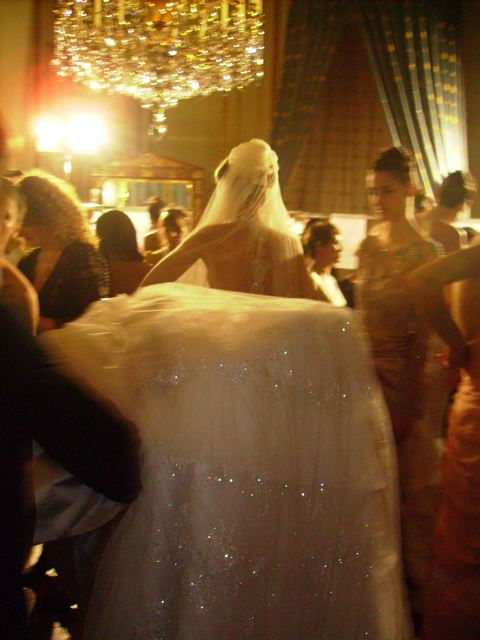 Wedding dress backstage Paris Haute Couture